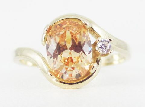 Champagne CZ 14k Yellow Gold CZ Accents Oval Ring, Solid 14 Karat Gold Ring, Oval 14k Gold Accent Ring, Yellow Gold Ring
