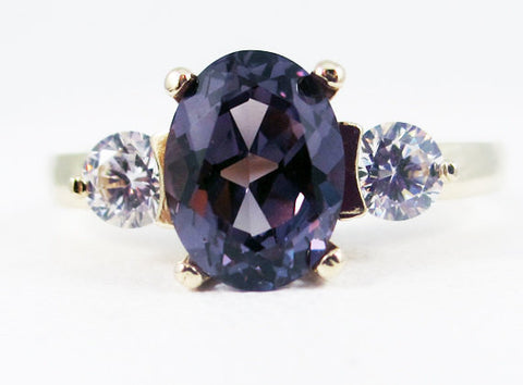 Alexandrite Oval 14k Yellow Gold CZ Accent Ring