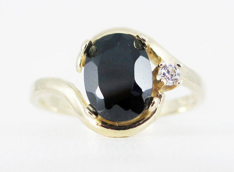 Black CZ 14k Yellow Gold CZ Accent Oval Ring, Solid 14 Karat Gold Ring, 14k Gold Black CZ Ring