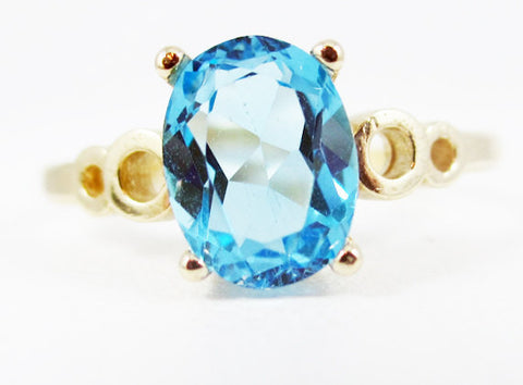 Swiss Blue Topaz Oval 14k Yellow Gold Bubble Ring, December Birthstone Ring, Oval Swiss Blue Topaz Ring, Solid 14 Karat Gold Ring