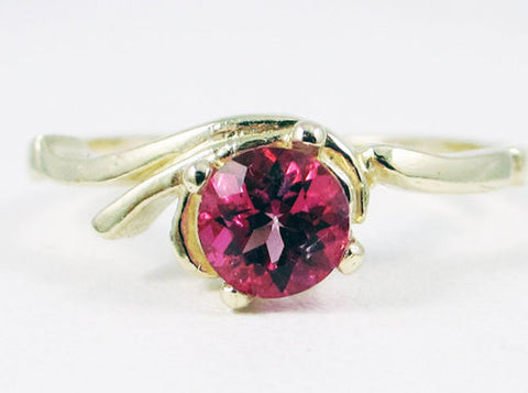 Pink Topaz Swirl Ring 14k Yellow Gold, Solid 14 Karat Gold Ring, 14k Gold Pink Topaz Ring, 14k Karat Yellow Gold, Pink Topaz Ring, Gold Ring