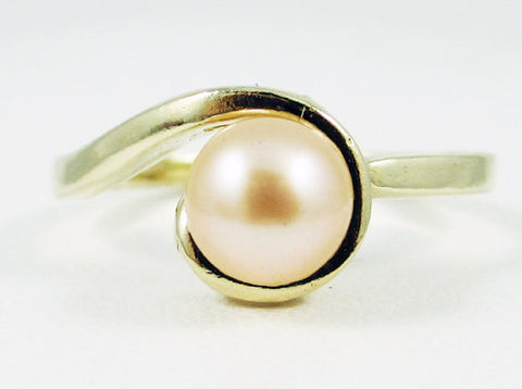 Swirly Peach Pearl Ring 14k Yellow Gold, June Birthstone Ring, Natural Peach Pearl Ring, Freshwater Pearl Ring, Solid 14 Karat Gold Ring