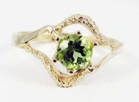 Peridot 14k Yellow Gold Textured Ring, Solid 14 Karat Gold Ring, August Birthstone Ring, 14k Gold Peridot Ring, Yellow Gold Peridot Ring