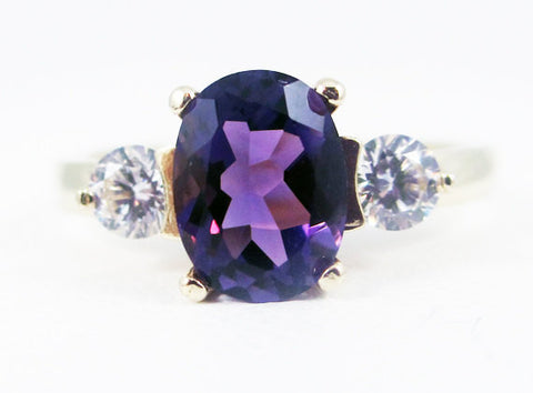 Amethyst Oval 14k Yellow Gold CZ Accent Ring