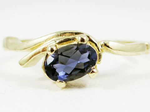 Iolite Oval Ring 14k Yellow Gold, Water Sapphire Ring, 14k Gold Iolite Ring, Solid 14 Karat Gold Ring, Iolite Oval Ring