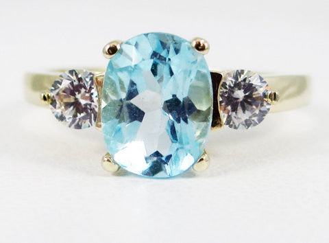 Sky Blue Topaz Oval 14k Yellow Gold CZ Accent Ring, Solid 14 Karat Gold Ring, December Birthstone Ring, Sky Blue Topaz Oval Three Stone Ring