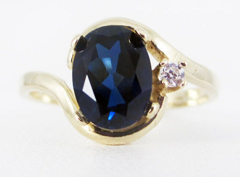 Blue Sapphire 14k Yellow Gold CZ Accent Oval Ring, September Birthstone Ring, Solid 14 Karat Gold Ring, Blue Sapphire Ring, Sapphire Ring