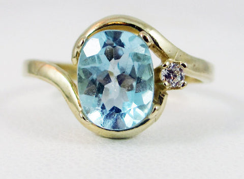 Sky Blue Topaz 14k Yellow Gold CZ Accent Oval Ring, December Birthstone Ring, Sky Blue Topaz Oval Accent Ring, Solid 14 Karat Gold Ring
