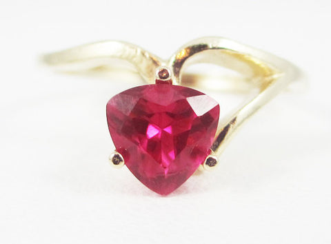 Ruby 14k Yellow Gold Trillion Ring, Solid 14 Karat Gold Ring, July Birthstone Ring, 14k Gold Ruby Ring, Yellow Gold Ruby Ring