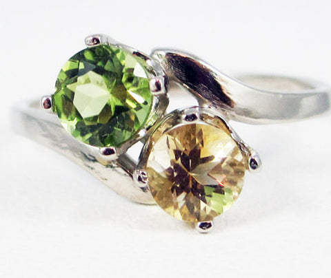 Peridot and Citrine Two Stone Ring 14k White Gold, Solid 14 Karat Gold Ring, White Gold Ring, 14k White Gold Peridot Citrine Ring White Gold