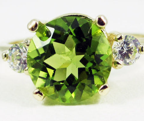Peridot and CZ Ring 14k Yellow Gold, Solid 14 Karat Gold Ring, August Birthstone Ring, 14k Gold Ring, Large Peridot Ring, Three Stone Ring