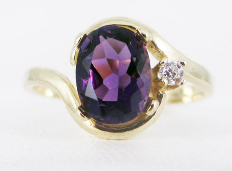 Amethyst 14k Yellow Gold CZ Accent Oval Ring, Solid 14 Karat Gold Ring, February Birthstone Ring, Yellow Gold Amethyst Oval Ring