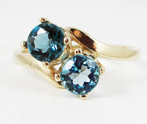London and Swiss Blue Topaz Two Stone Ring 14k Yellow Gold, Solid 14 Karat Gold Ring, December Birthstone Ring, London Blue Topaz Ring
