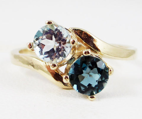 London and Sky Blue Topaz Two Stone Ring 14k Yellow Gold, December Birthstone Ring, Solid 14 Karat Gold Ring, Yellow Gold Blue Topaz Ring