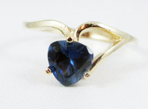 Blue Sapphire 14k Yellow Gold Trillion Ring, September Birthstone Ring, Yellow Gold Sapphire Ring, Solid 14 Karat Gold Ring, Blue Sapphire