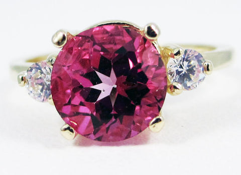 14k Yellow Gold Pink Topaz and CZ Ring, Solid 14 Karat Gold Ring, 14k Yellow Gold Pink Topaz Ring, 14k Gold Ring Pink Topaz Three Stone Ring