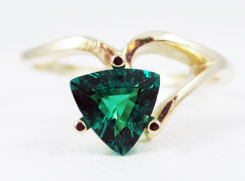 Emerald 14k Yellow Gold Trillion Ring, May Birthstone Ring, 14k Gold Emerald Ring, Yellow Gold Emerald Trillion Ring, Emerald Ring