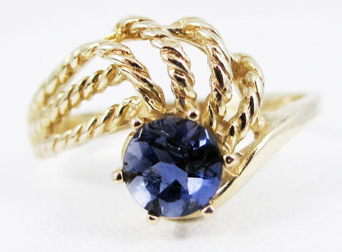 Iolite 14k Yellow Gold Twisted Swirls Ring, Water Sapphire Ring, Solid 14 Karat Gold Ring, Natural Iolite Solitaire Ring, Yellow Gold Ring