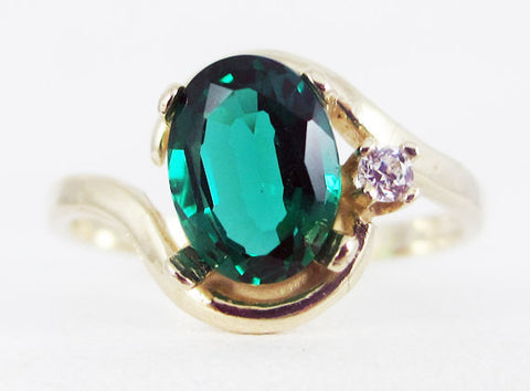 Emerald 14k Yellow Gold CZ Accent Oval Ring, May Birthstone Ring, Solid 14 Karat Gold Ring, 14k Gold Emerad Ring, Oval Emerald Ring