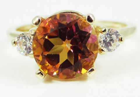 14k Yellow Gold Azotic Topaz and CZ Ring, Solid 14 Karat Gold Ring, Yellow Gold Topaz Ring, 14k Azotic Topaz Ring