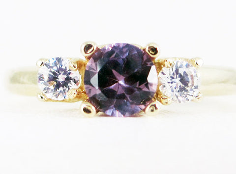 Alexandrite and CZ 14k Yellow Gold Three Stone Ring