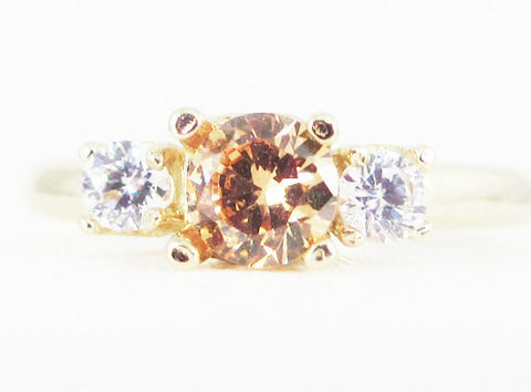Champagne CZ and White CZ 14k Yellow Gold Three Stone Ring, Solid 14 Karat Gold Ring, 14k CZ Ring, Yellow Gold Cz Ring