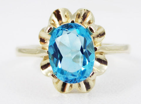 Swiss Blue Topaz 14k Yellow Gold Oval Crown Ring, December Birthstone Ring, 14k Yellow Gold Oval Ring, Swiss Blue Topaz Oval Engagement Ring