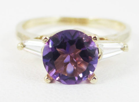 Amethyst and White CZ Baguette 14k Yellow Gold Ring
