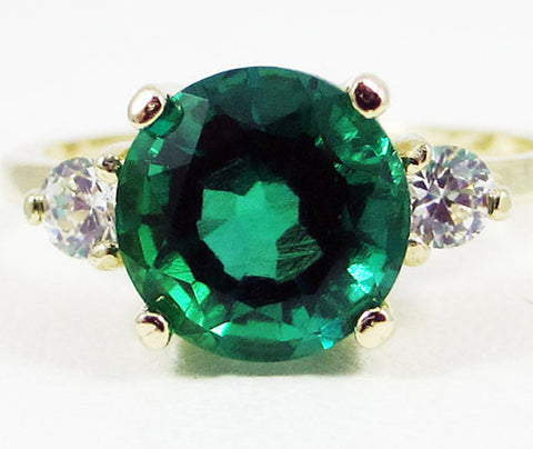 14k Yellow Gold Emerald and CZ Ring, May Birthstone Ring, 14k Gold Emerald Ring, Yellow Gold Emerald Ring, Solid 14 Karat Gold Ring