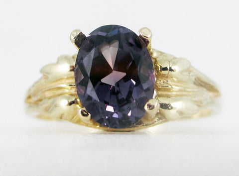Alexandrite 14k Yellow Gold Oval Leaf Ring