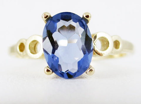 Tanzanite Oval 14k Yellow Gold Bubble Ring, December Birthstone Ring, Solid 14 Karat Gold Ring, Yellow Gold Tanzanite Oval Ring