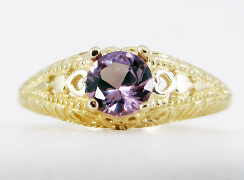 Alexandrite 14k Yellow Gold Filigree Ring