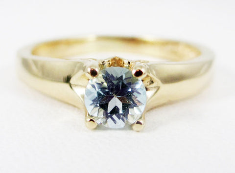 Aquamarine 14k Yellow Gold Tulilp Solitaire Ring, March Birthstone Ring, Natural Aquamarine Solitaire Ring, Solid 14 Karat Gold Ring