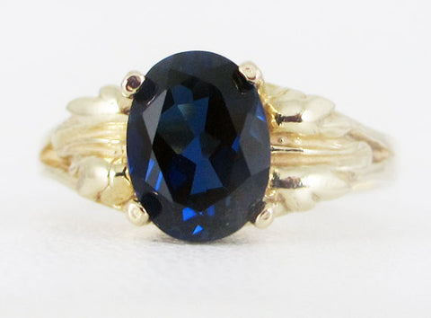 Blue Sapphire 14k Yellow Gold Oval Leaf Ring, September Birthstone Ring, Solid 14 Karat Gold Ring, Blue Sapphire Ring, 14k Gold Ring