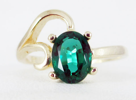 Emerald 14k Yellow Gold Oval Ring, May Birthstone Ring, Emerald Oval Ring, Solid 14 Karat Gold Ring, 14k Yellow Gold Emerald Oval Ring