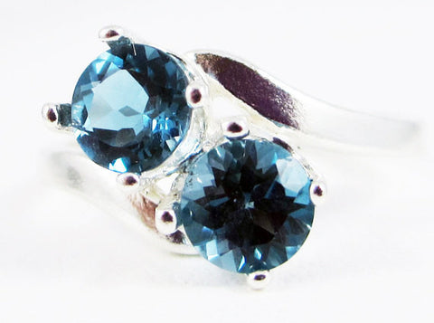 London Blue Topaz Two Stone Ring Sterling Silver 925, December Birthstone Ring, 925 Blue Topaz Ring, Sterling Topaz Ring, Two Stone Ring