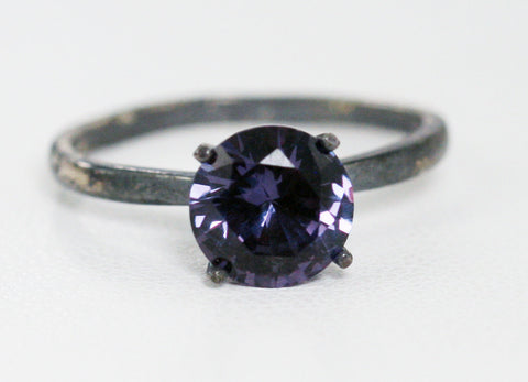 Oxidized Large Alexandrite Solitaire Ring, 925 Sterling Silver, June Birthstone Ring, Oxidized Solitaire Ring, Color Change Alexandrite