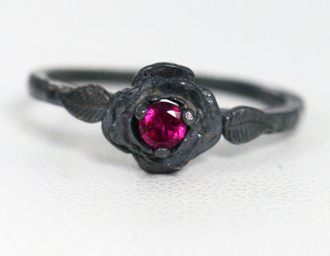 Oxidized Ruby Rose Ring, Oxidized 925 Sterling Silver, July Birthstone Ring, Oxidized 925 Ruby Ring, Oxidized Sterling Silver Rose Ring