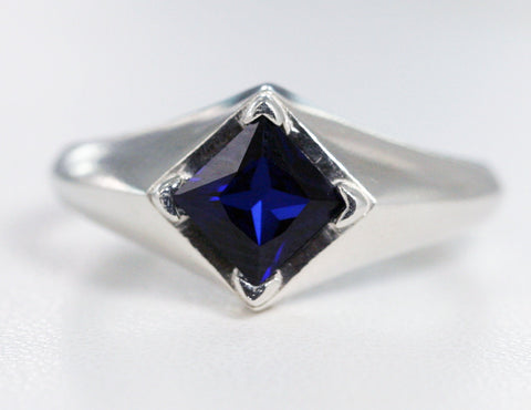 Blue Sapphire Princess Cut Ring Sterling Silver, September Birthstone Ring, Blue Sapphire Square Ring, 925 Blue Sapphire Princess Ring