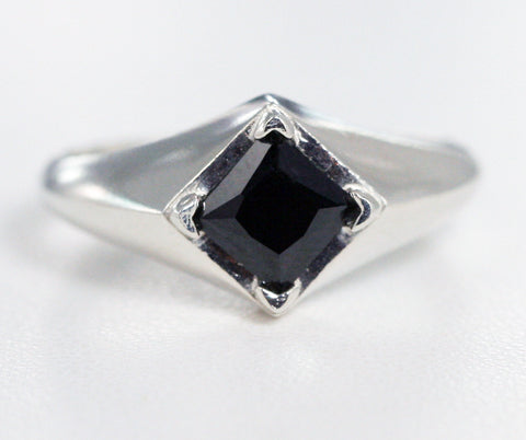Black CZ Square Ring Sterling Silver, Princess Cut Ring Sterling Silver, 925 Square Black Cz Ring