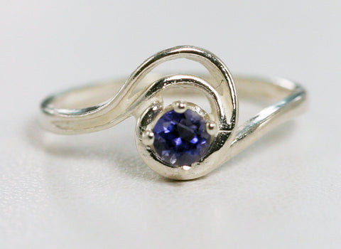 Iolite Swirl Ring Sterling Silver, Sterling Swirl Ring, Iolite Solitaire Ring, Water Sapphire Ring, 925 Sterling Silver Ring