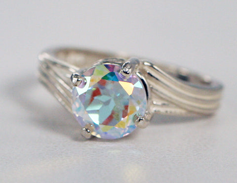 Mercury Mist Topaz Solitaire Ring Sterling Silver, Mystic Topaz Ring, Rainbow Ring