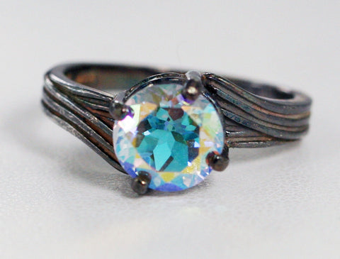 Oxidized Mercury Mist Topaz Solitaire Ring Sterling Silver, Oxidized Mystic Topaz Ring, Oxidized Rainbow Ring
