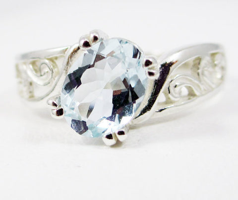 14k White Gold Oval Aquamarine Filigree Ring, March Birthstone Ring, Oval 14 Karat White Gold Ring, White Gold Filigree Ring, Aquamarine