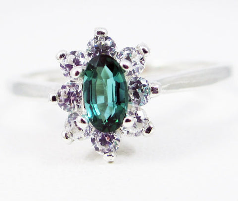 Teal Tourmaline Oval Halo Ring Sterling Silver, October Birthstone Ring, Green Tourmaline Ring, CZ Halo Ring, Oval Tourmaline Ring