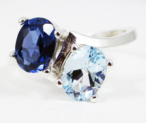 Aquamarine and Blue Sapphire Ring, 925 Sterling Silver, March Birthstone Ring, Two Stone Ring, Blue Sapphire Oval Ring, Gemstone Ring