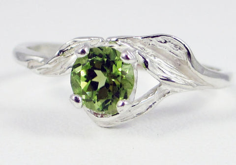 925 Peridot Leaf Ring Sterling Silver, August Birthstone Ring, Sterling Silver Leaf Ring, Sterling Silver Peridot Ring, 925 Peridot Ring