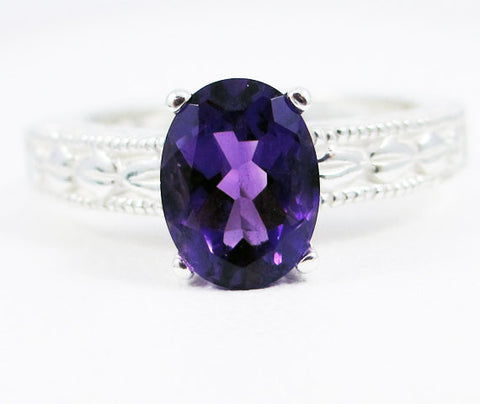 Amethyst Oval Filigree Ring Sterling Silver