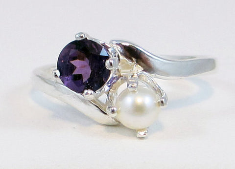 Amethyst and Pearl 2 Stone Ring Sterling Silver