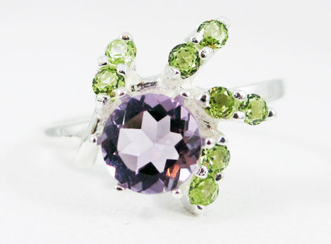 Lavender Amethyst and Peridot Swirl Ring 925 Sterling Silver, February Birthstone Ring, Amethyst Swirl Ring, Peridot Ring, Lavender Amethyst